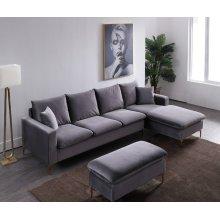 Divani Casa Parker Modern Grey Velvet Sectional Sofa & Ottoman