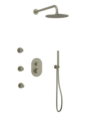 Rain Head + Body Jets + Hand Held Shower RND - Brushed Nickel Product Image