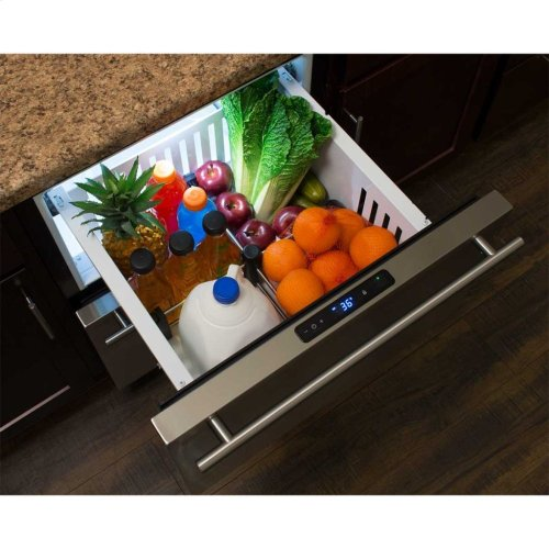 "Marvel 24"" Refrigerated Drawers - Solid Black Drawer Front, Stainless Steel Designer Handles"