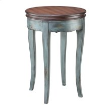 Hartford Round Accent Table In Moonstone Blue