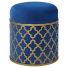 Taj Velvet Fabric Round Storage Ottoman, Serene Dark Blue/Gold Product Image