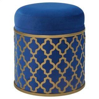 Taj Velvet Fabric Round Storage Ottoman, Serene Dark Blue/Gold