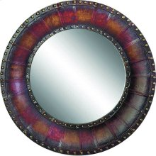 "32"" Round Leather Mirror"