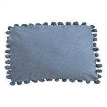 """Alma Pom Pom Lumbar Pillow (21"""" X 13"""") - Graphite"""