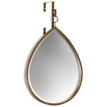 HAILE MIRROR- TEARDROP  Antique Gold Finish on Metal Frame  Plain Glass Beveled Mirror