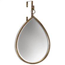 HAILE MIRROR- TEARDROP  Antique Gold Finish on Metal Frame  Plain Glass Beveled Mirror