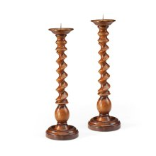 Pair of Twisted Light Walnut Candlesticks