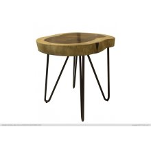 Authentic Live-Edge Chair-side Table