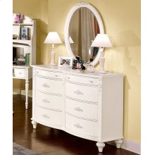 Decorative Oval Mirror and Shaped Double Dresser