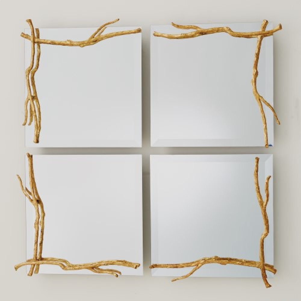 Twig Mirror-Gold Leaf-Sm