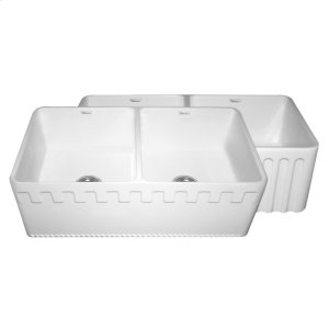 Farmhaus Fireclay Reversible Series double bowl fireclay sink with a Castlehaus design front apron on one side and a fluted front apron on the opposite side. Product Image