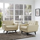Engage Leather Sofa Set in Beige Product Image