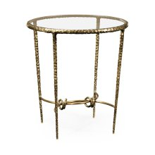Hammered Light Brown Brass Circular Side Table