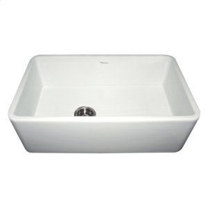 "Farmhaus Fireclay Duet Series reversible fireclay sink with a smooth front apron and a 3 1/2"" offset center drain. Product Image"