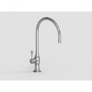 """Brushed Stainless - 10"""" Deck Mount Single Hole Swivel Bar Faucet Spout with Left Metal Contemporary Lever Product Image"""