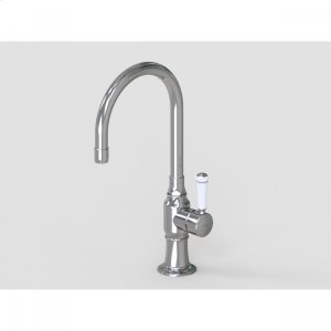 """Brushed Stainless - 7"""" Swivel Deck Mount Single Hole Bar Faucet Spout with Right White Ceramic Contemporary Lever Product Image"""