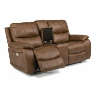 Hendrix Fabric Power Reclining Loveseat with Console and Power Headrests Product Image