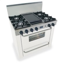 "36"" All Gas Range, Open Burners, White"