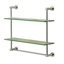 Essentials Wall Mounted Two Tier Glass Shelf and Towel Rail With Porto Backplates