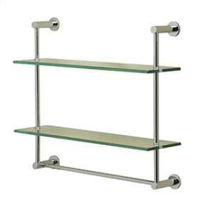Essentials Wall Mounted Two Tier Glass Shelf and Towel Rail With Porto Backplates Product Image