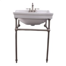 "Cali 24"" Console Sink with Brass Stand - 4"" Centerset / Brushed Nickel"
