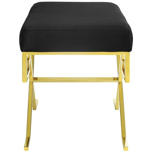 Twist Performance Velvet Bench in Gold Black