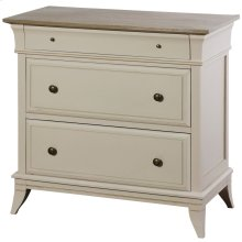 Ivan  32in X 17in X 33in  Three Drawer Chest Made of Palownia Wood & Mdf in a Light Gray Finish wi