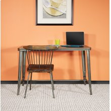 """30"""" Matte Gunmetal Grey Rectangle Dining Table With Ash Wood Top"""
