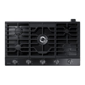 "36"" Gas Cooktop in Black Stainless Steel Product Image"