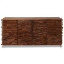 BRADFORD SIDEBOARD  Gray-Walnut Finish on Stacked Mango Wood  4 Door