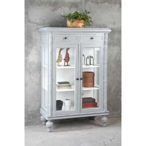 CC-CAB1290TLD-AGWW  Curio Cabinet  Distressed Gray/ White