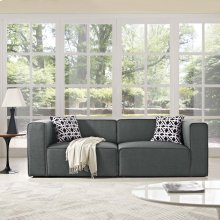 Mingle 2 Piece Upholstered Fabric Sectional Sofa Set in Gray