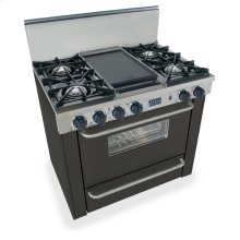 "36"" All Gas Range, Open Burners, Black"