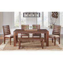 6 PIECE SET (TABLE, 4 SIDE CHAIRS AND BENCH)