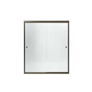 """Finesse™ Frameless Sliding Door with Knob - Height 70-1/16"""", Max. Opening 59-5/8"""" - Deep Bronze with Smooth Clear Glass Texture Product Image"""