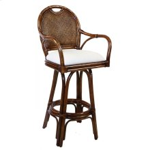 """Legacy Indoor Swivel Rattan & Wicker 30"""" Bar Stool in TC Antique Finish with Cushion"""