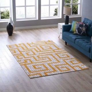 Nahia Geometric Maze 5x8 Area Rug in Ivory, Light Gray and Banana Yellow