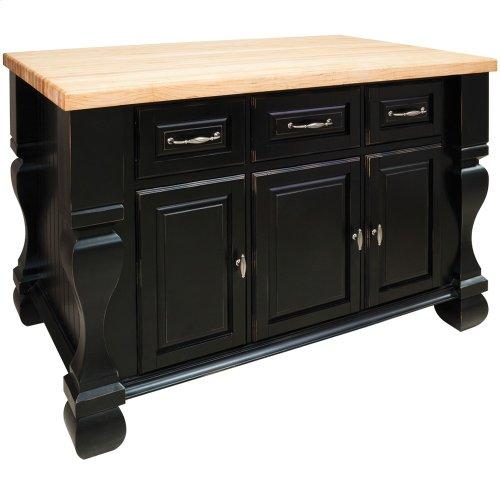 "52-5/8"" x 32-3/8"" x 35-1/4"" Furniture style kitchen island with Distressed Black finish."