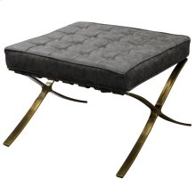 CALVIN OTTOMAN  Distressed Gray Faux Leather with Brass Finish on Metal Frame