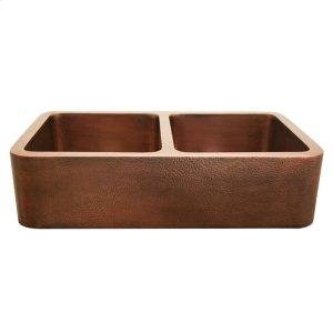 "Copperhaus rectangular double bowl undermount sink with a smooth or hammered front apron and 3 1/2"" center drains - 14 gauge copper sink. Product Image"