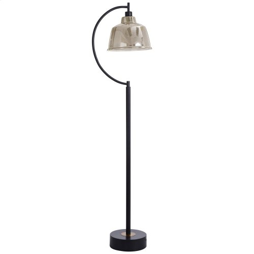 Black Water Floor Lamp  65In Metal Base With Glass Pendant Shade  40 Watts  On-Off Switch  Ediso