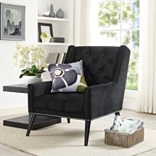 Peruse Velvet Armchair in Black