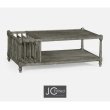 Antique Dark Grey Rectangular Coffee Table with Magazine Rack