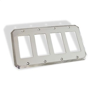 Quad GFI Square Deco Switch Plate - Polished Chrome Product Image