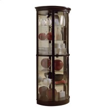 Half Round 5 Shelf Curio Cabinet in Warm Cherry Brown