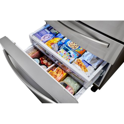 23 cu. ft. 4-Door French Door, Counter Depth Refrigerator with FlexZone Drawer in Stainless Steel