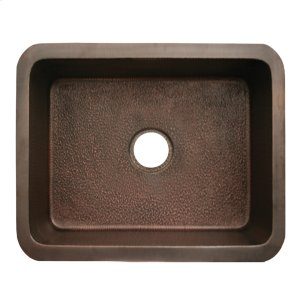 "Copperhaus rectangular undermount sink with a hammered texture and a 3 1/2"" center drain - 14 gauge copper sink. Product Image"