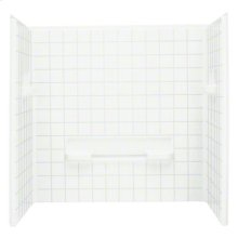 "OC-SS-63 35-1/4"" x 60"" Seated Shower with Age in Place Backers - Wall Set - White"