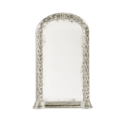 Carved and silver gilded hanging wall mirror