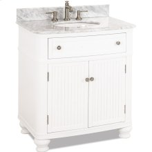 "32"" vanity with White finish, beadboard doors, curved shape, and preassembled top and bowl."